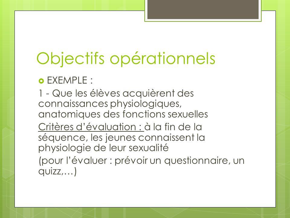 Objectifs opérationnels  EXEMPLE : 1 - Que les élèves acquièrent des connaissances physiologiques, anatomiques des fonctions sexuelles Critères d'éva