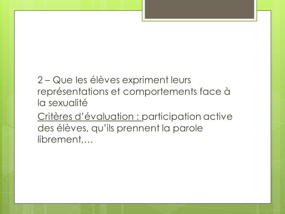 2 – Que les élèves expriment leurs représentations et comportements face à la sexualité Critères d'évaluation : participation active des élèves, qu'il