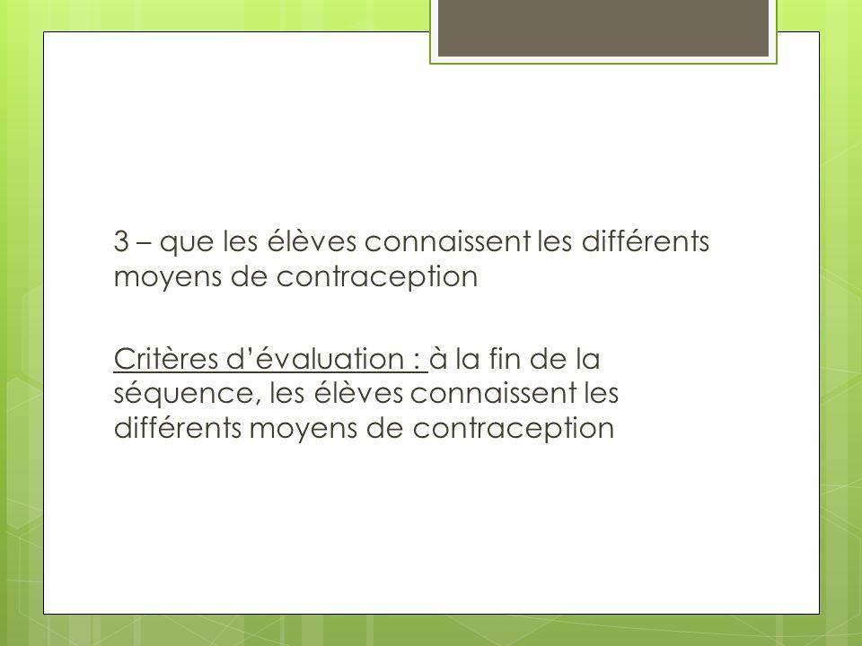 3 – que les élèves connaissent les différents moyens de contraception Critères d'évaluation : à la fin de la séquence, les élèves connaissent les diff