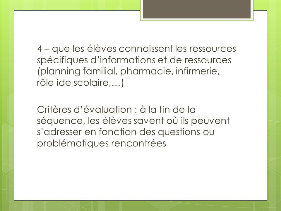 4 – que les élèves connaissent les ressources spécifiques d'informations et de ressources (planning familial, pharmacie, infirmerie, rôle ide scolaire