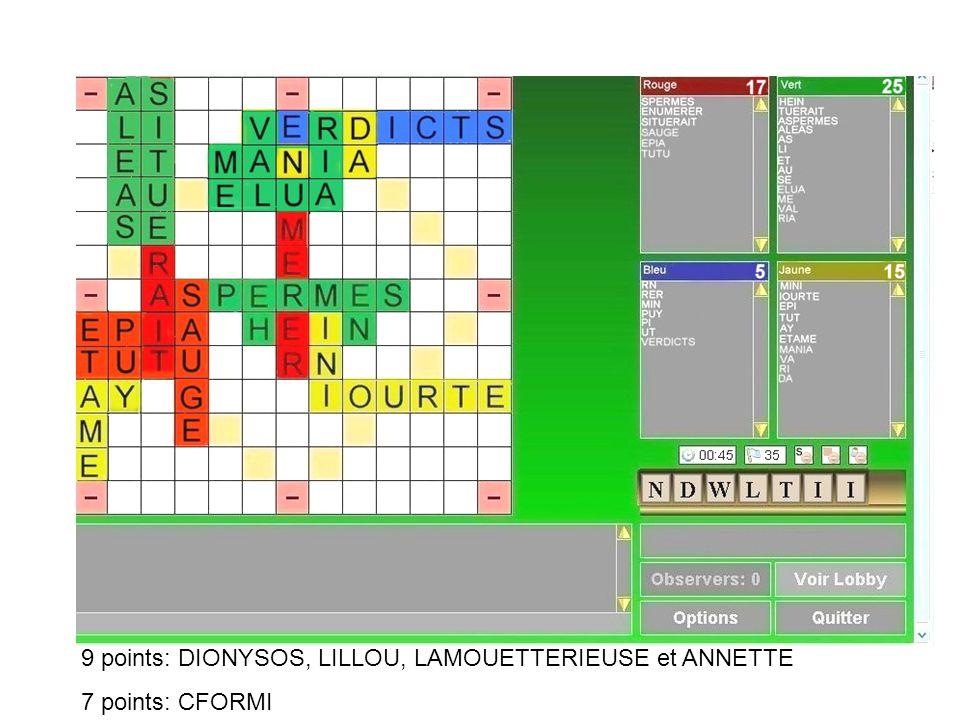 9 points: DIONYSOS, LILLOU, LAMOUETTERIEUSE et ANNETTE 7 points: CFORMI