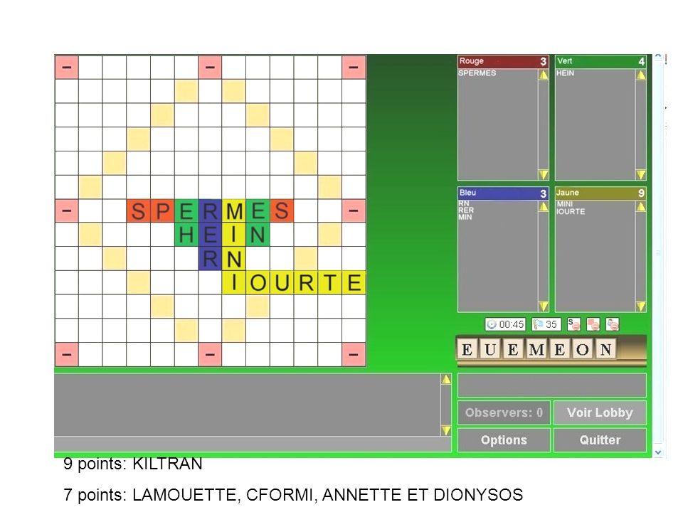 9 points: KILTRAN 7 points: LAMOUETTE, CFORMI, ANNETTE ET DIONYSOS