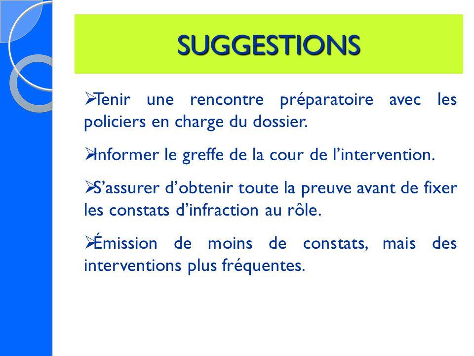 SUGGESTIONS  Tenir une rencontre préparatoire avec les policiers en charge du dossier.