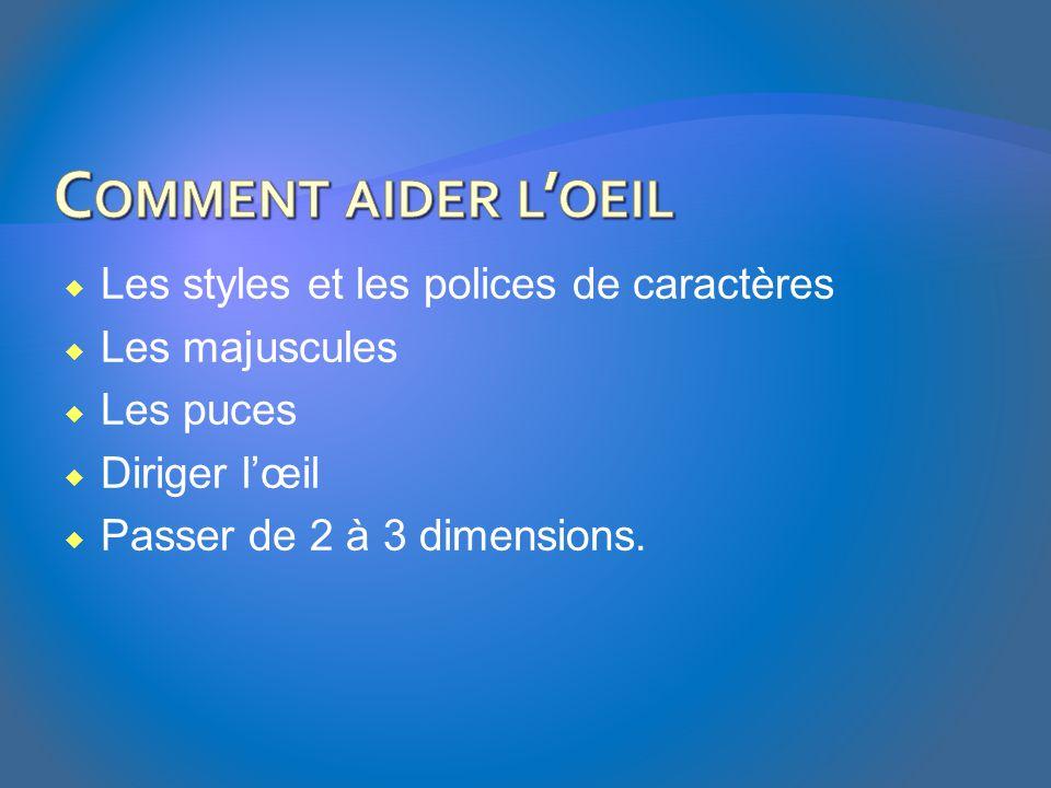  Les styles et les polices de caractères  Les majuscules  Les puces  Diriger l'œil  Passer de 2 à 3 dimensions.