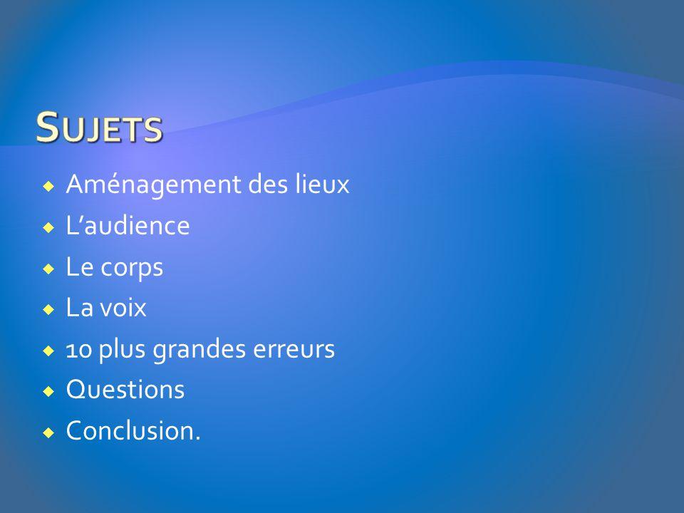  Aménagement des lieux  L'audience  Le corps  La voix  10 plus grandes erreurs  Questions  Conclusion.