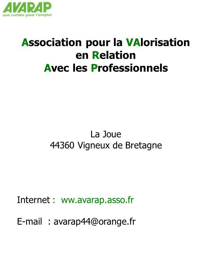 Association pour la VAlorisation en Relation Avec les Professionnels La Joue 44360 Vigneux de Bretagne Internet : ww.avarap.asso.fr E-mail : avarap44@orange.fr