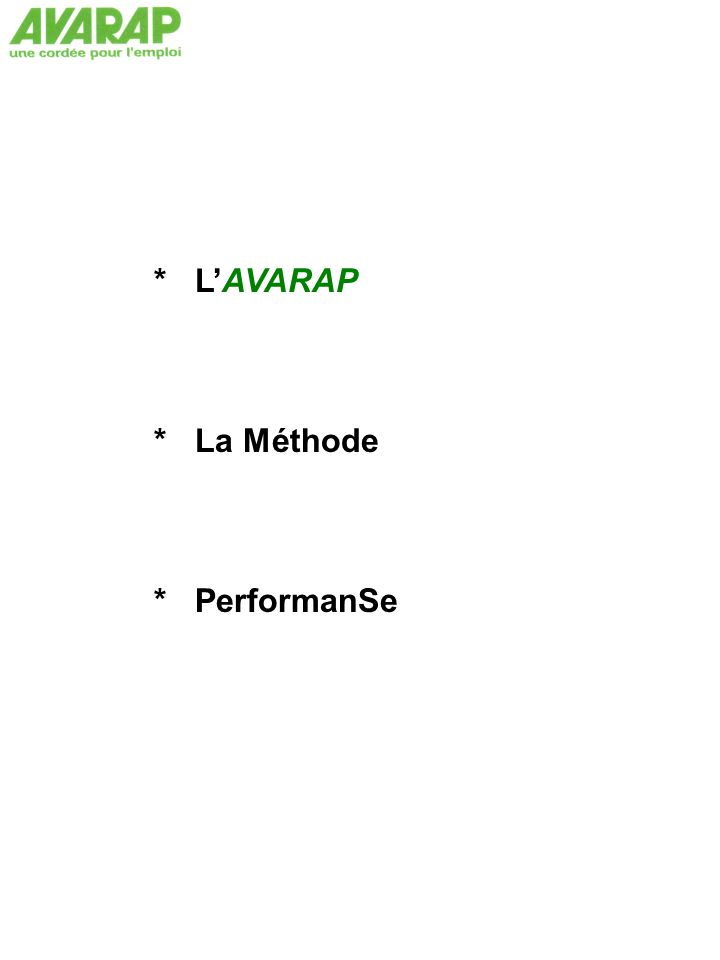 * L'AVARAP * La Méthode * PerformanSe