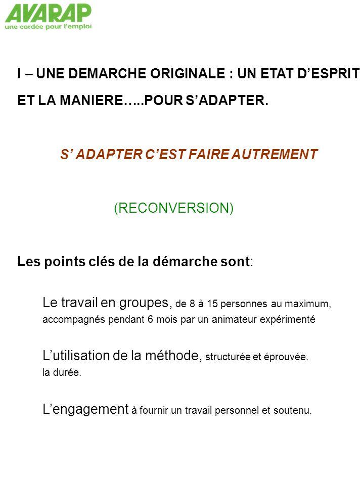I – UNE DEMARCHE ORIGINALE : UN ETAT D'ESPRIT ET LA MANIERE…..POUR S'ADAPTER.
