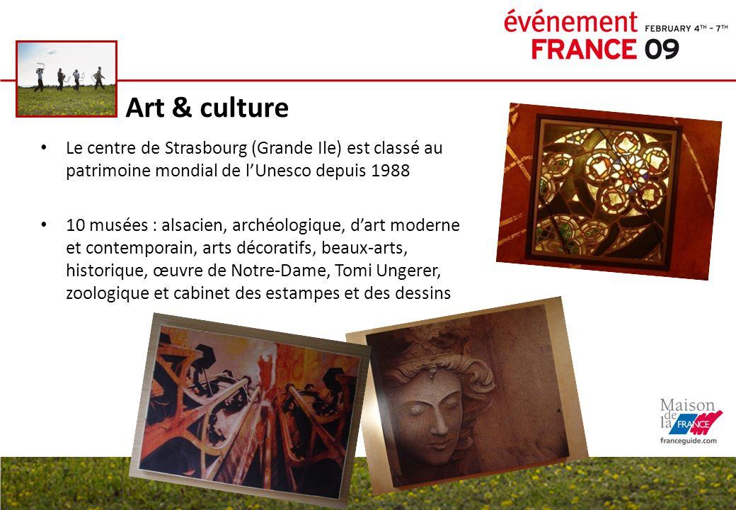 Art & culture Le centre de Strasbourg (Grande Ile) est classé au patrimoine mondial de l'Unesco depuis 1988 10 musées : alsacien, archéologique, d'art