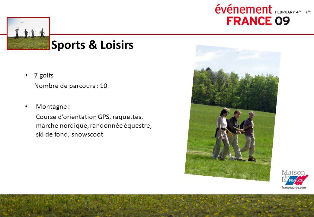 Sports & Loisirs 7 golfs Nombre de parcours : 10 Montagne : Course d'orientation GPS, raquettes, marche nordique, randonnée équestre, ski de fond, sno