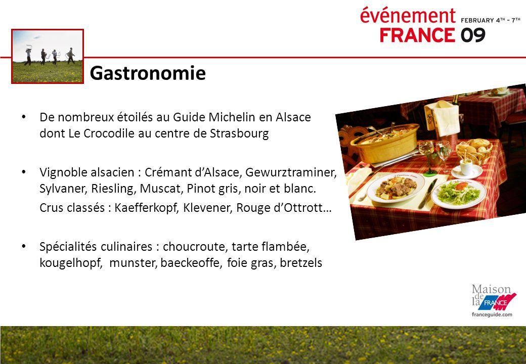 Gastronomie De nombreux étoilés au Guide Michelin en Alsace dont Le Crocodile au centre de Strasbourg Vignoble alsacien : Crémant d'Alsace, Gewurztram