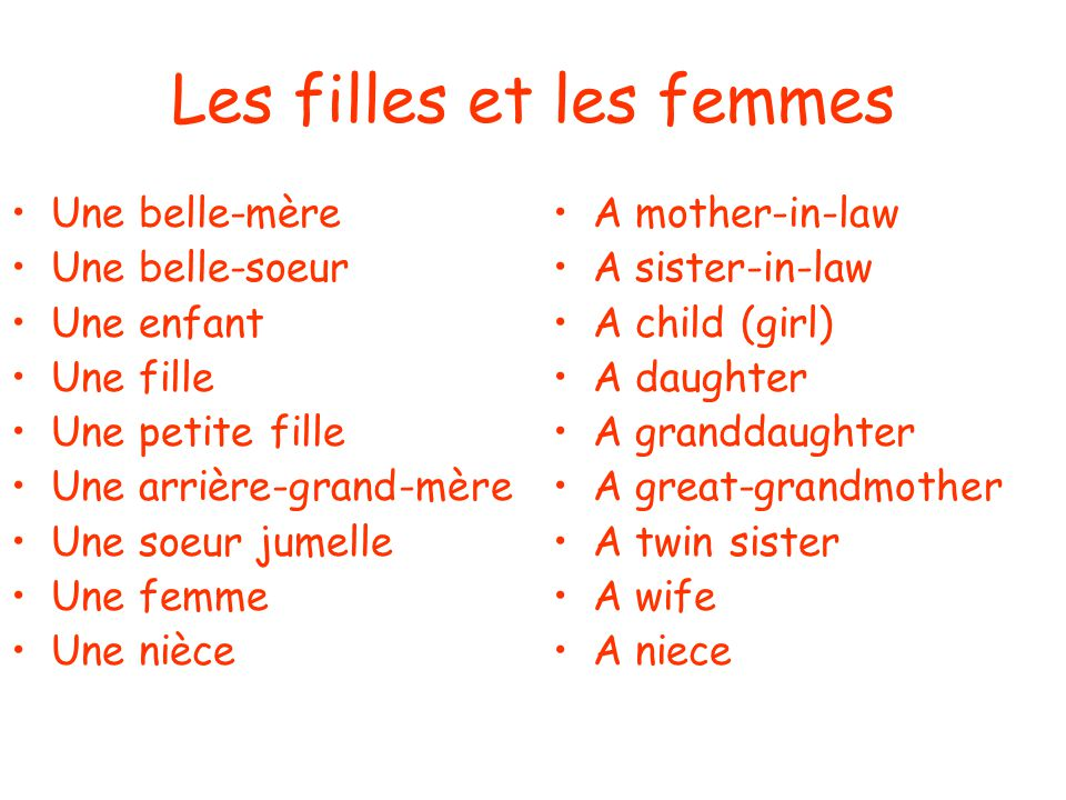 Les filles et les femmes Une belle-mère Une belle-soeur Une enfant Une fille Une petite fille Une arrière-grand-mère Une soeur jumelle Une femme Une nièce A mother-in-law A sister-in-law A child (girl) A daughter A granddaughter A great-grandmother A twin sister A wife A niece