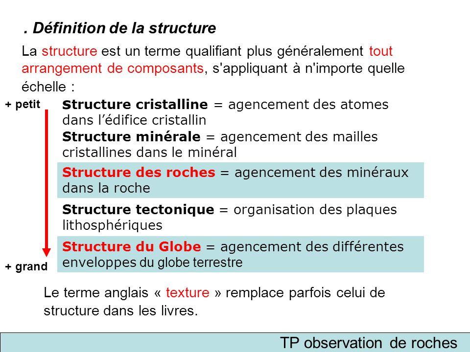 TP observation de roches La structure est un terme qualifiant plus généralement tout arrangement de composants, s'appliquant à n'importe quelle échell