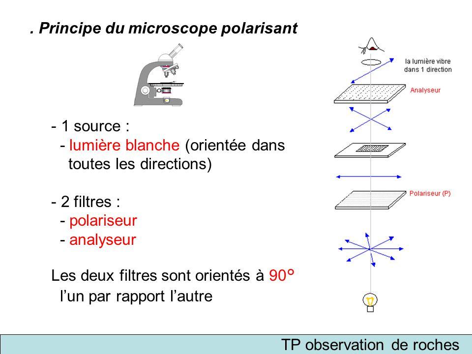 TP observation de roches. Principe du microscope polarisant - 1 source : - lumière blanche (orientée dans toutes les directions) - 2 filtres : - polar