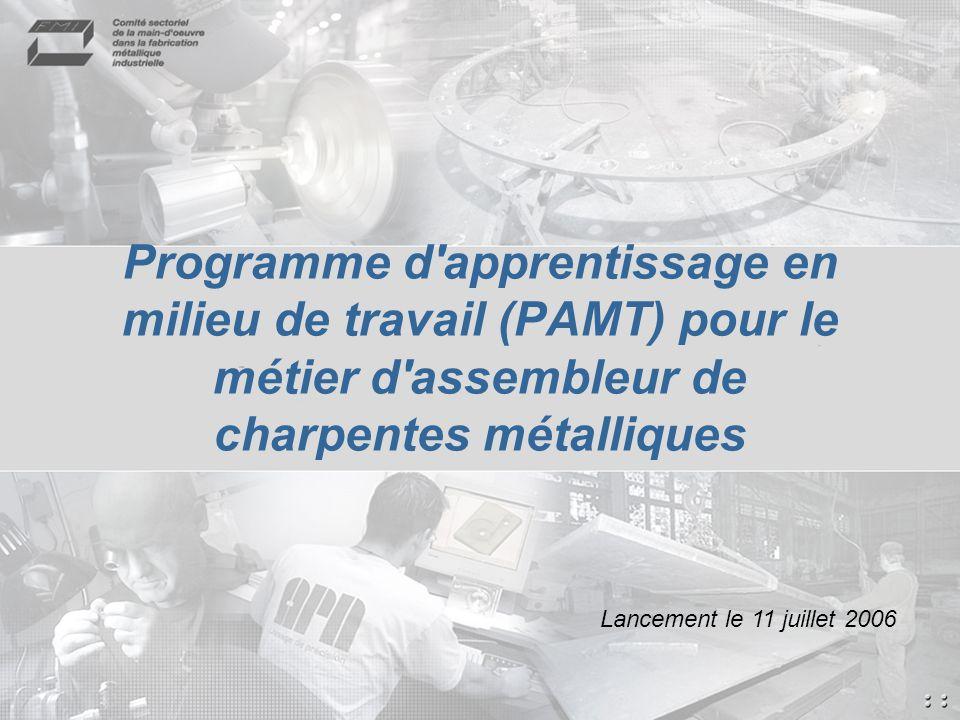 Programme d apprentissage en milieu de travail (PAMT) pour le métier d assembleur de charpentes métalliques Lancement le 11 juillet 2006