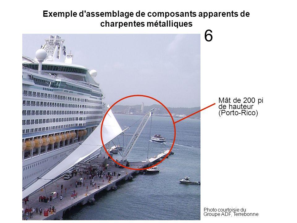 Exemple d assemblage de composants apparents de charpentes métalliques Photo courtoisie du Groupe ADF, Terrebonne Mât de 200 pi de hauteur (Porto-Rico) 6
