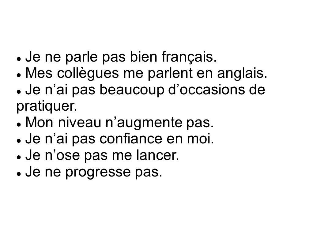 Je ne parle pas bien français. Mes collègues me parlent en anglais.