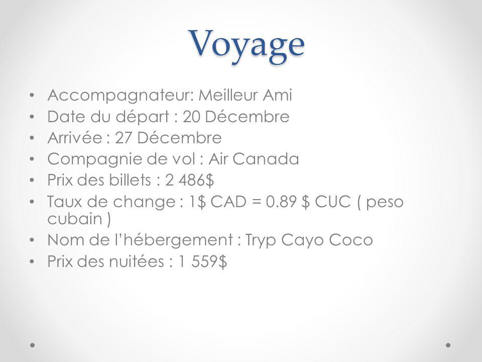 Voyage Accompagnateur: Meilleur Ami Date du départ : 20 Décembre Arrivée : 27 Décembre Compagnie de vol : Air Canada Prix des billets : 2 486$ Taux de