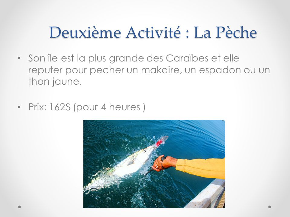 Deuxième Activité : La Pèche Son île est la plus grande des Caraïbes et elle reputer pour pecher un makaire, un espadon ou un thon jaune. Prix: 162$ (