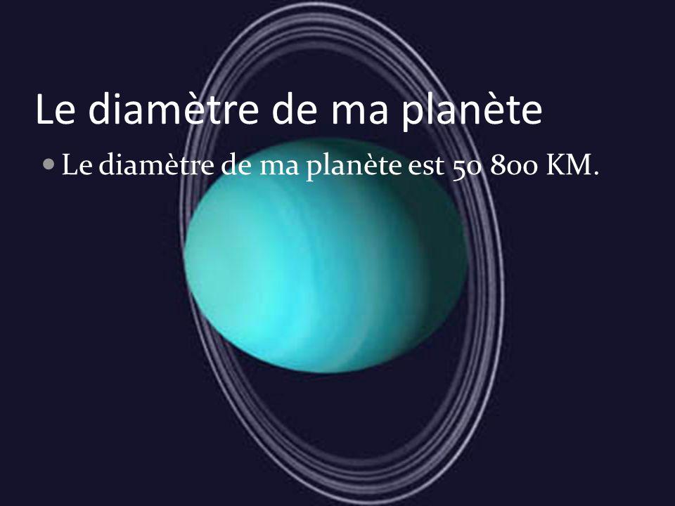 Le diamètre de ma planète Le diamètre de ma planète est 50 800 KM.