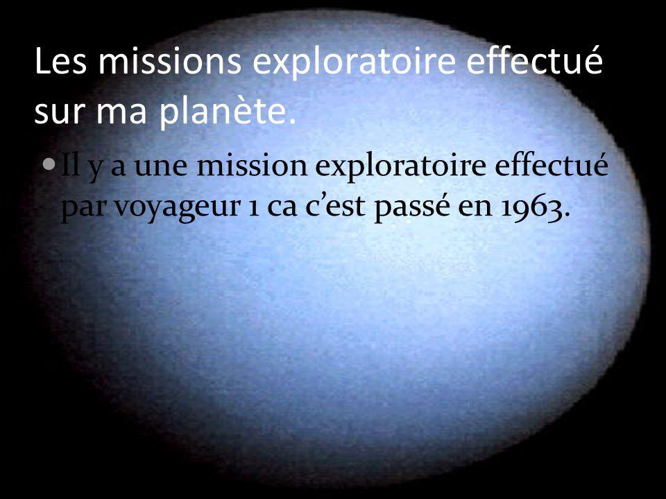 Les missions exploratoire effectué sur ma planète. Il y a une mission exploratoire effectué par voyageur 1 ca c'est passé en 1963.