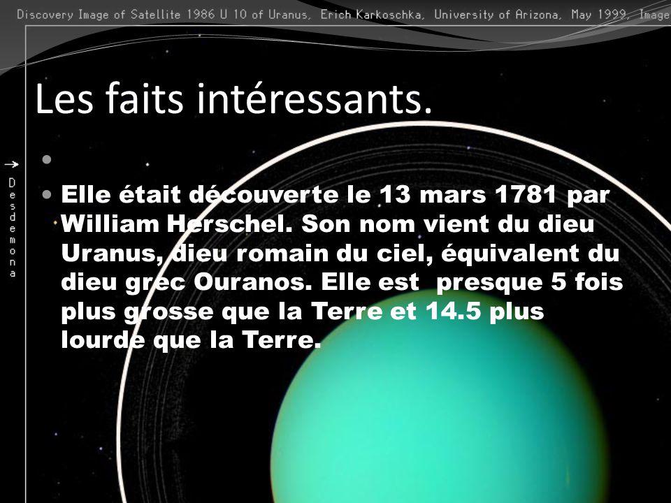 Les faits intéressants. Elle était découverte le 13 mars 1781 par William Herschel. Son nom vient du dieu Uranus, dieu romain du ciel, équivalent du d