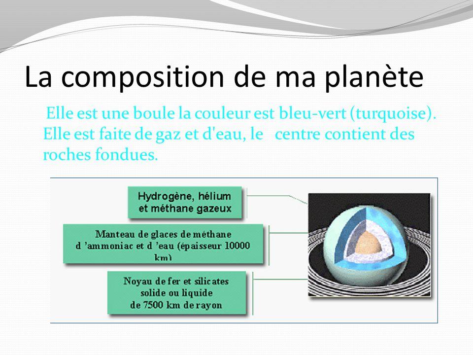 La composition de ma planète Elle est une boule la couleur est bleu-vert (turquoise). Elle est faite de gaz et d'eau, le centre contient des roches fo
