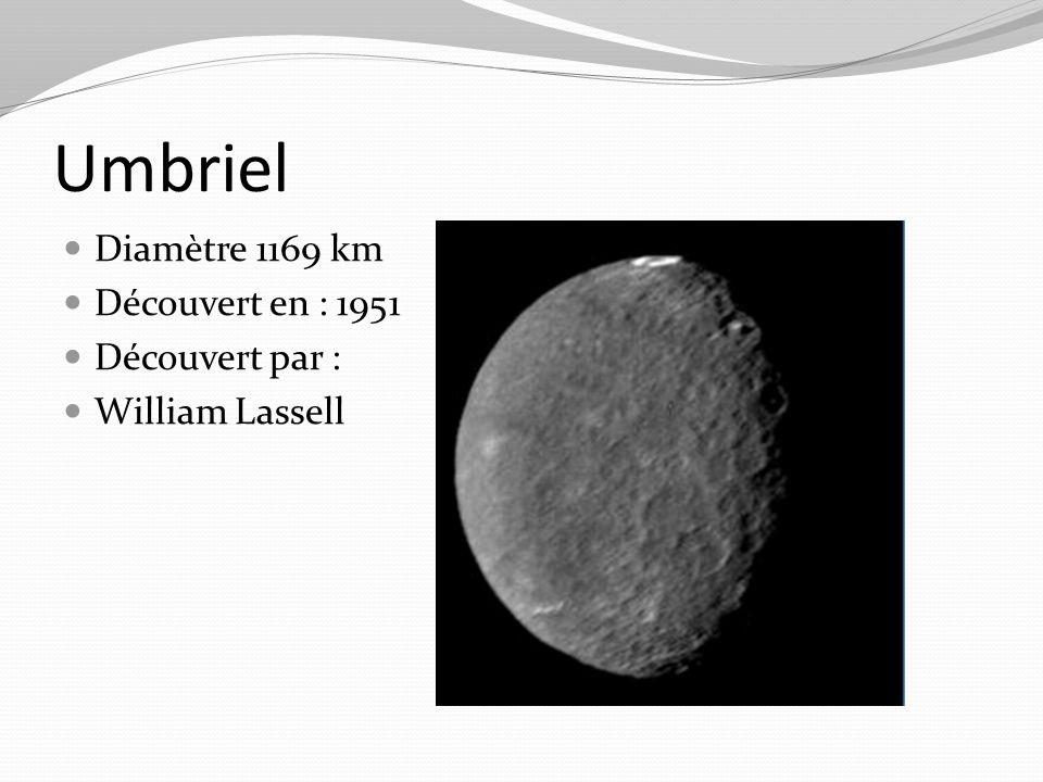 Umbriel Diamètre 1169 km Découvert en : 1951 Découvert par : William Lassell