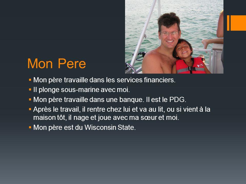 Mon Pere  Mon père travaille dans les services financiers.