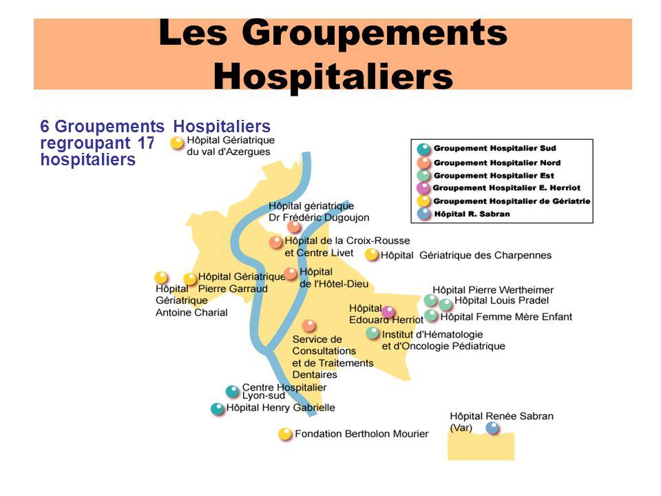 6 Groupements Hospitaliers regroupant 17 sites de soins hospitaliers Les Groupements Hospitaliers