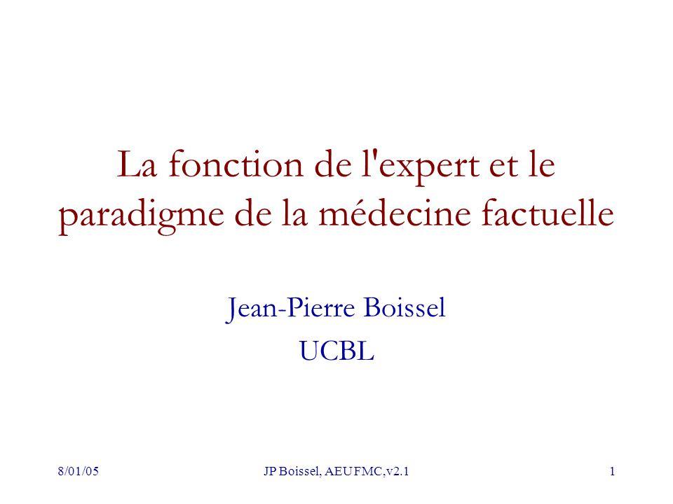 8/01/05JP Boissel, AEU FMC,v2.11 La fonction de l expert et le paradigme de la médecine factuelle Jean-Pierre Boissel UCBL