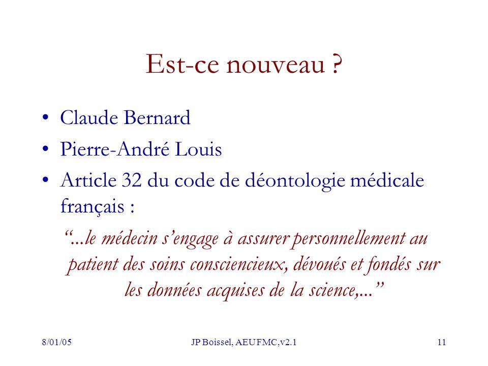 """8/01/05JP Boissel, AEU FMC,v2.111 Est-ce nouveau ? Claude Bernard Pierre-André Louis Article 32 du code de déontologie médicale français : """"...le méde"""