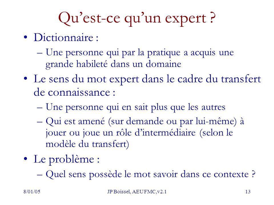 8/01/05JP Boissel, AEU FMC,v2.113 Qu'est-ce qu'un expert ? Dictionnaire : –Une personne qui par la pratique a acquis une grande habileté dans un domai