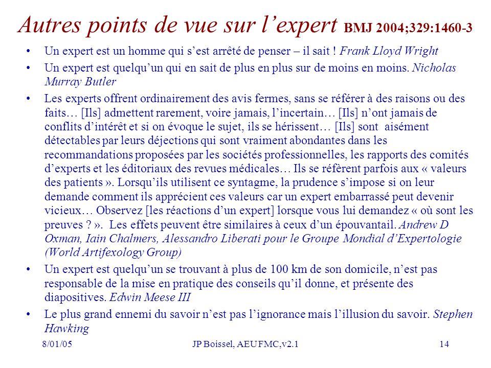 8/01/05JP Boissel, AEU FMC,v2.114 Autres points de vue sur l'expert BMJ 2004;329:1460-3 Un expert est un homme qui s'est arrêté de penser – il sait .