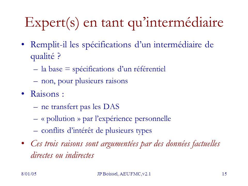 8/01/05JP Boissel, AEU FMC,v2.115 Expert(s) en tant qu'intermédiaire Remplit-il les spécifications d'un intermédiaire de qualité ? –la base = spécific