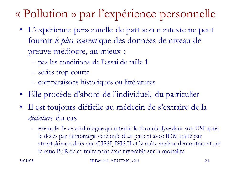8/01/05JP Boissel, AEU FMC,v2.121 « Pollution » par l'expérience personnelle L'expérience personnelle de part son contexte ne peut fournir le plus sou