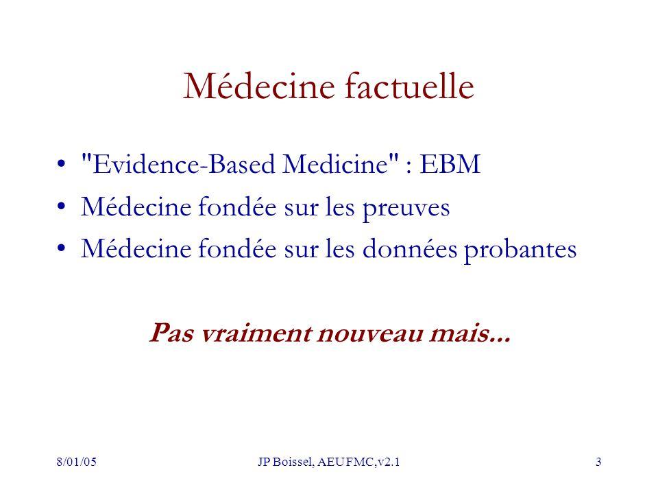 8/01/05JP Boissel, AEU FMC,v2.13 Médecine factuelle Evidence-Based Medicine : EBM Médecine fondée sur les preuves Médecine fondée sur les données probantes Pas vraiment nouveau mais...