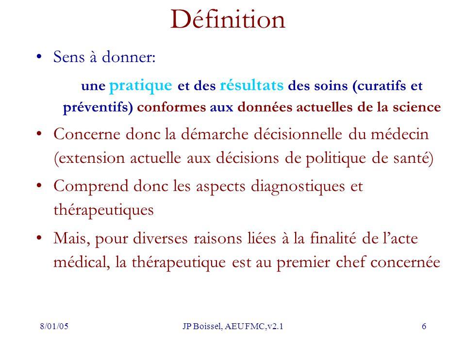 8/01/05JP Boissel, AEU FMC,v2.16 Définition Sens à donner: une pratique et des résultats des soins (curatifs et préventifs) conformes aux données actu