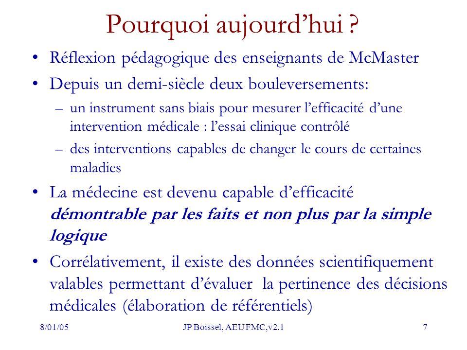 8/01/05JP Boissel, AEU FMC,v2.17 Pourquoi aujourd'hui ? Réflexion pédagogique des enseignants de McMaster Depuis un demi-siècle deux bouleversements:
