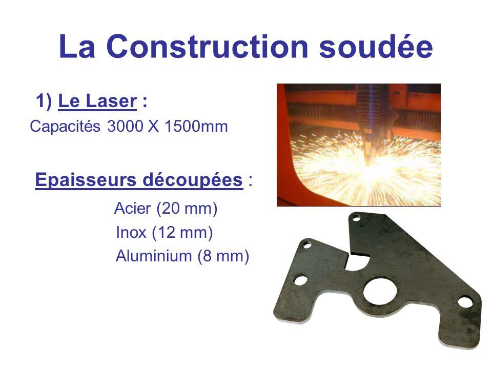 La Construction soudée 1) Le Laser : Capacités 3000 X 1500mm Epaisseurs découpées : Acier (20 mm) Inox (12 mm) Aluminium (8 mm)