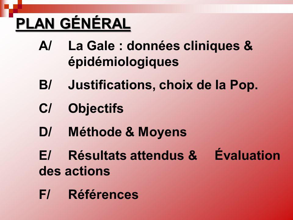 A/La Gale : données cliniques & épidémiologiques B/Justifications, choix de la Pop. C/ Objectifs D/ Méthode & Moyens E/ Résultats attendus & Évaluatio