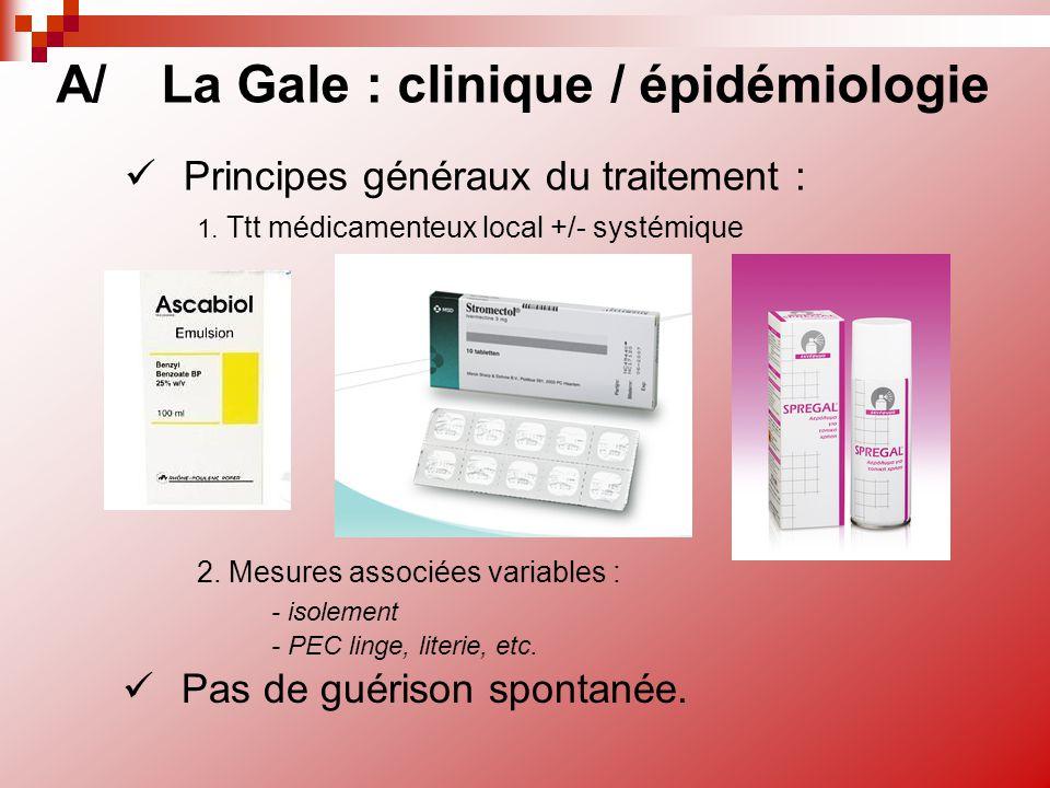 Principes généraux du traitement : A/La Gale : clinique / épidémiologie 1. Ttt médicamenteux local +/- systémique 2. Mesures associées variables : - i
