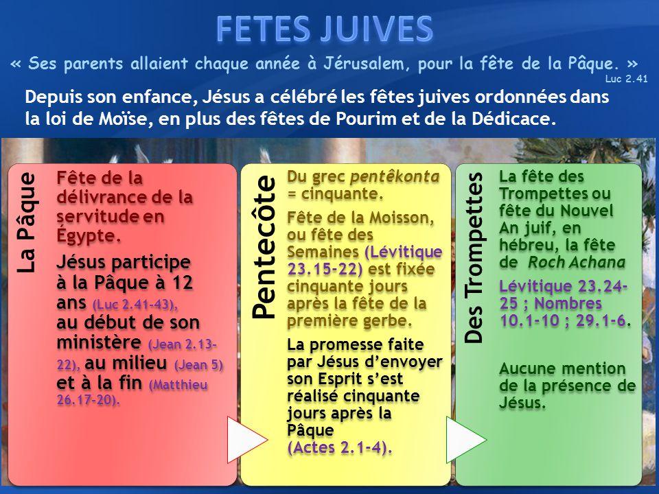 La Pâque Fête de la délivrance de la servitude en Égypte. Jésus participe à la Pâque à 12 ans (Luc 2.41-43), au début de son ministère (Jean 2.13- 22)