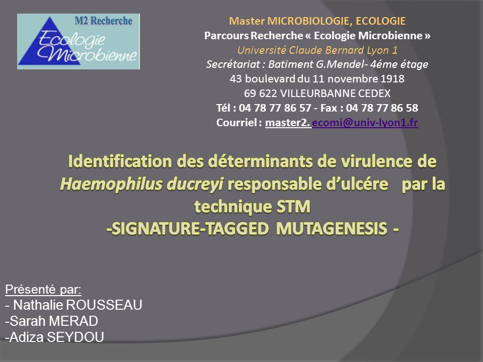 Présenté par: - Nathalie ROUSSEAU -Sarah MERAD -Adiza SEYDOU Master MICROBIOLOGIE, ECOLOGIE Parcours Recherche « Ecologie Microbienne » Université Cla
