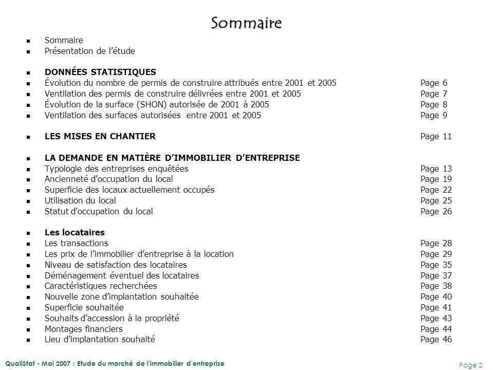QualiStat - Mai 2007 : Etude du marché de l'immobilier d'entreprise Page 2 Sommaire Présentation de l'étude DONNÉES STATISTIQUES Évolution du nombre d