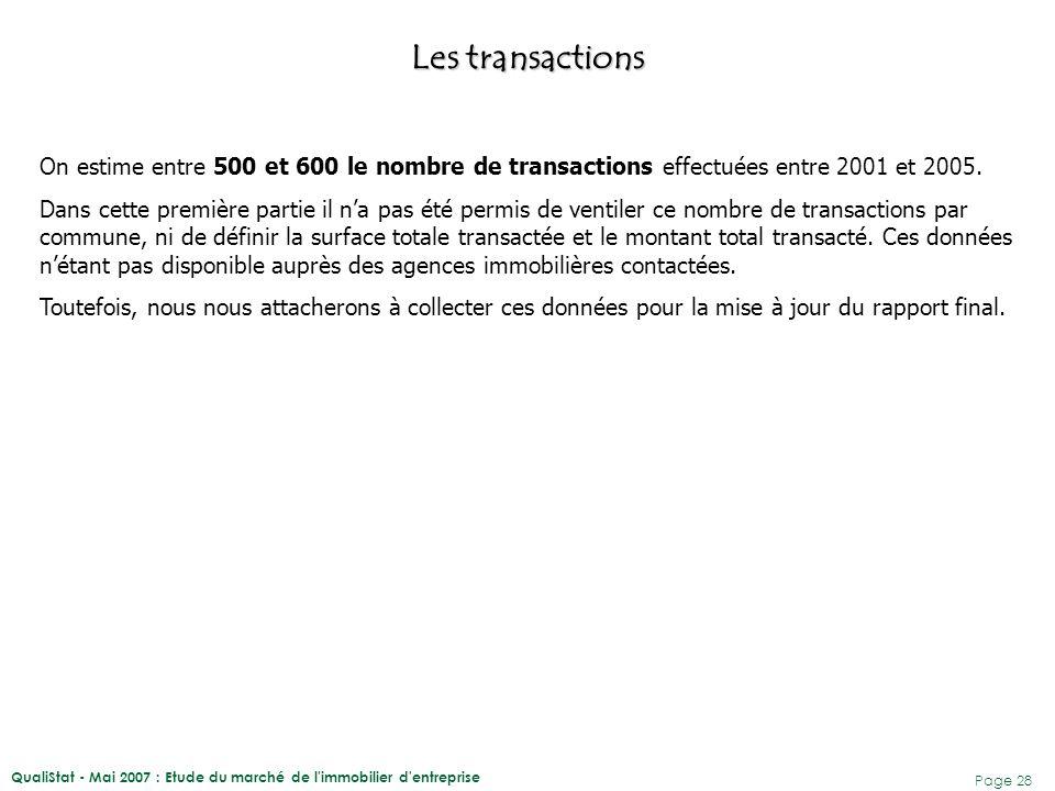 QualiStat - Mai 2007 : Etude du marché de l'immobilier d'entreprise Page 28 Les transactions On estime entre 500 et 600 le nombre de transactions effe