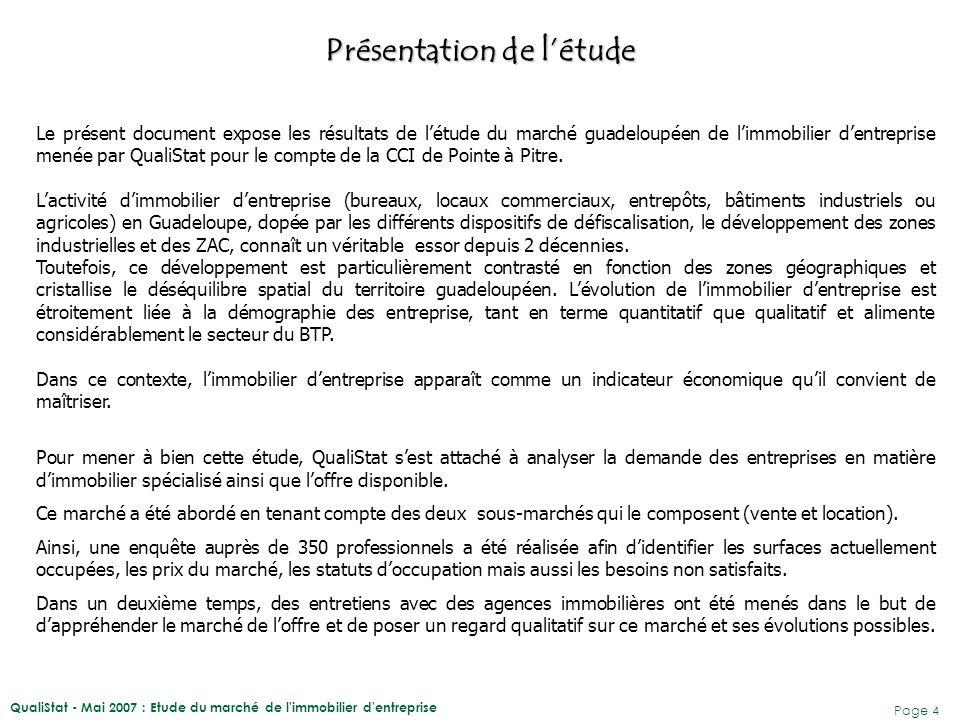 QualiStat - Mai 2007 : Etude du marché de l'immobilier d'entreprise Page 4 Le présent document expose les résultats de l'étude du marché guadeloupéen