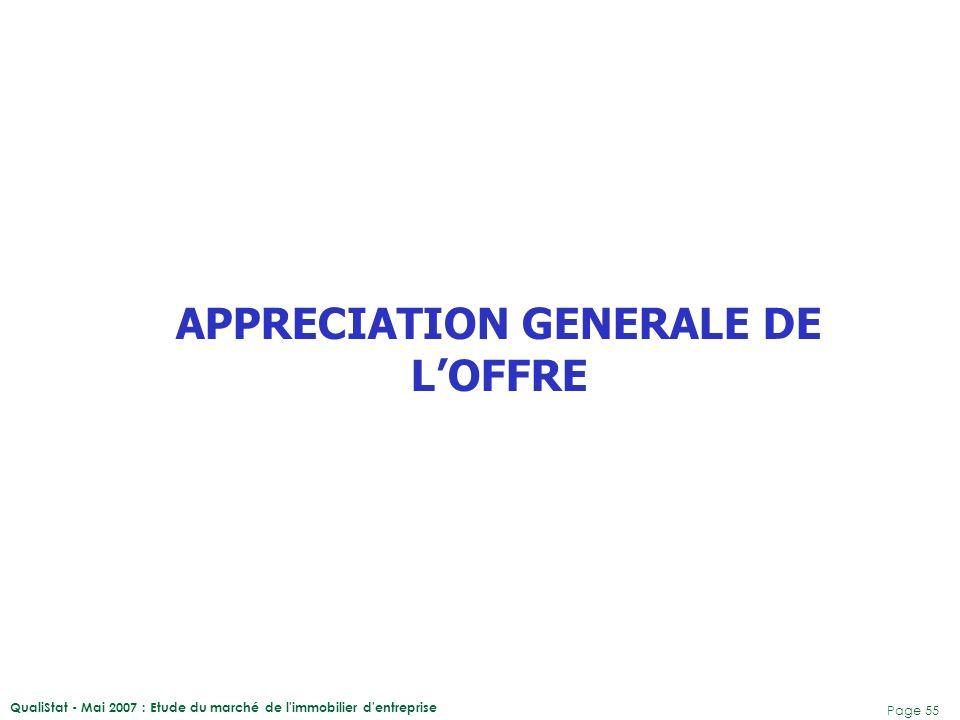 QualiStat - Mai 2007 : Etude du marché de l'immobilier d'entreprise Page 55 APPRECIATION GENERALE DE L'OFFRE