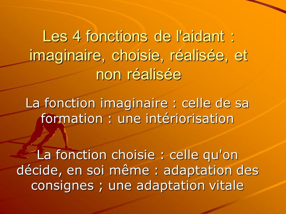 Les 4 fonctions de l'aidant : imaginaire, choisie, réalisée, et non réalisée La fonction imaginaire : celle de sa formation : une intériorisation La f