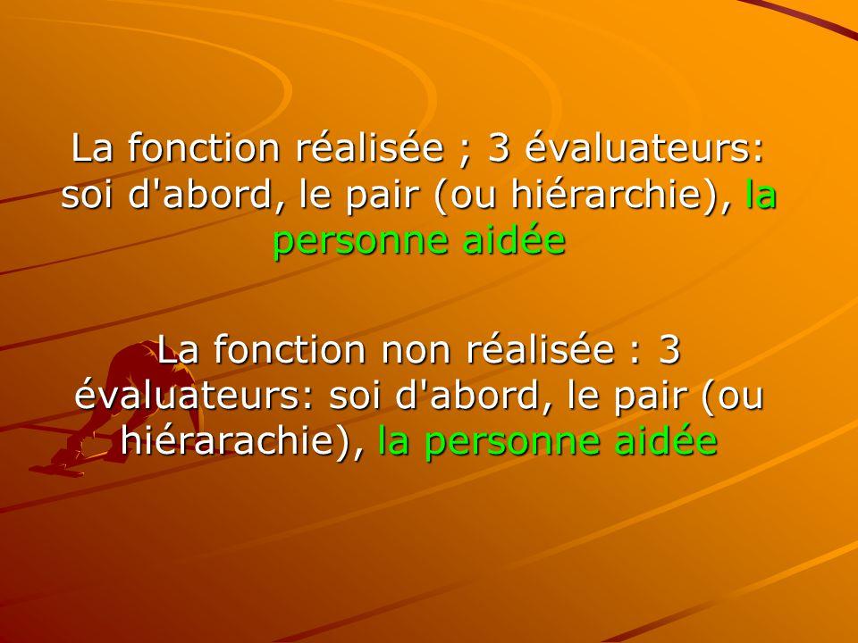La fonction réalisée ; 3 évaluateurs: soi d'abord, le pair (ou hiérarchie), la personne aidée La fonction non réalisée : 3 évaluateurs: soi d'abord, l